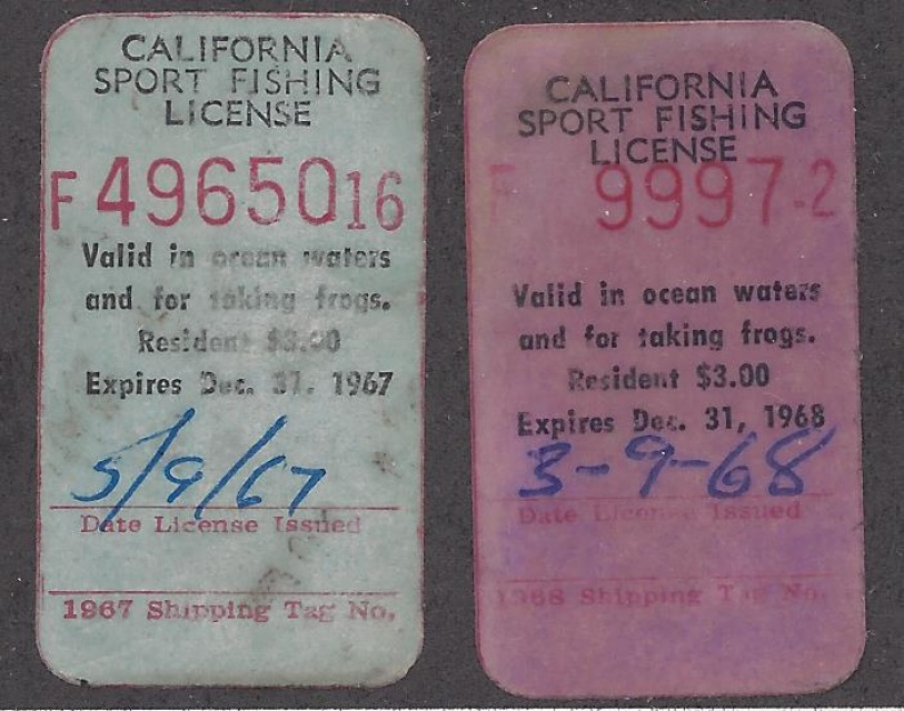California sport fish license stamps 1967 1968 pair for Calif fishing license